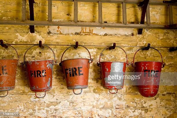 Row of fire buckets