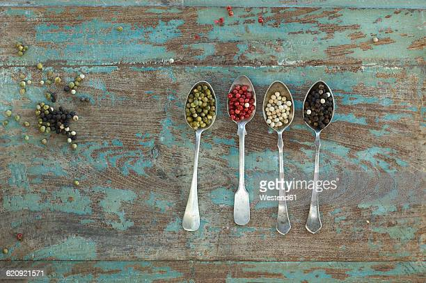 Row of four silver spoons with different sorts of peppercorns
