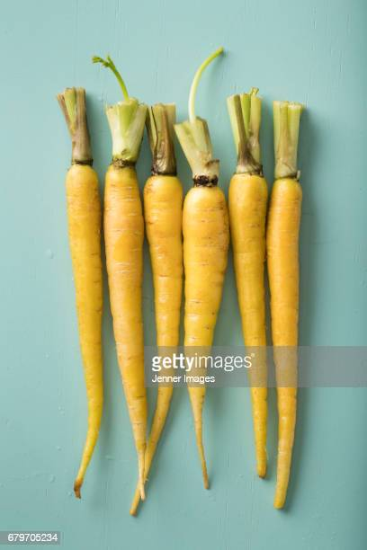 Row Of Fresh Yellow Carrots.