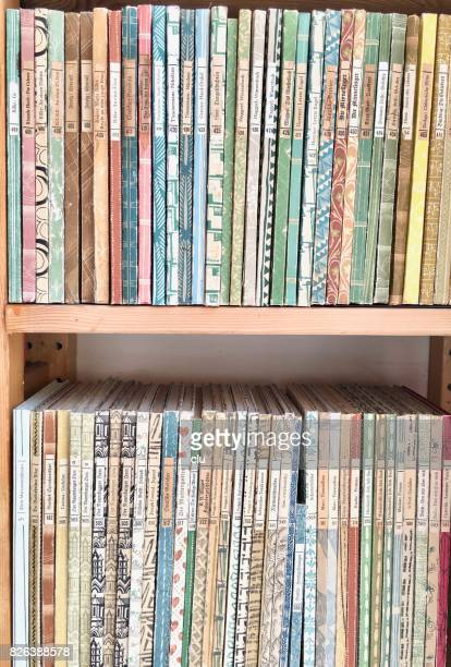 row of german books of the insel - bücherei - insel stock pictures, royalty-free photos & images