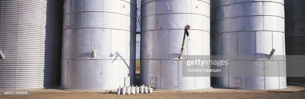 Row of Grain Silos : Stock Photo