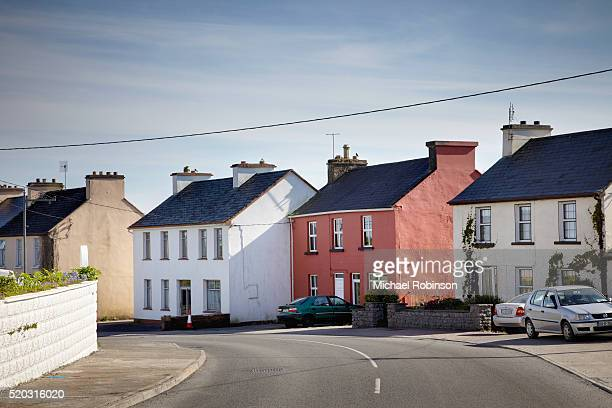 row of homes county clare ireland - michael robinson stock pictures, royalty-free photos & images