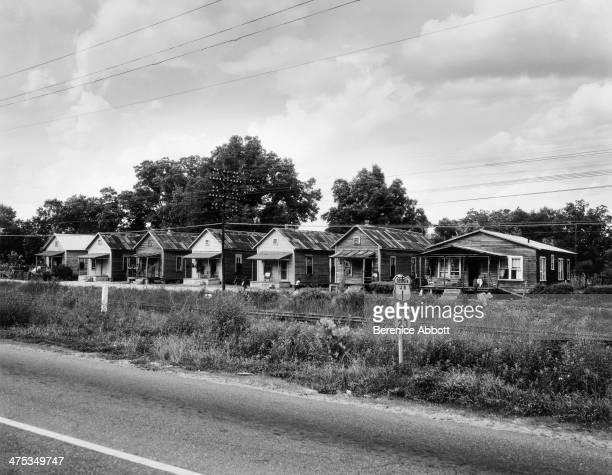 Row of houses along US Route 1 near Waycross Georgia United States 1954