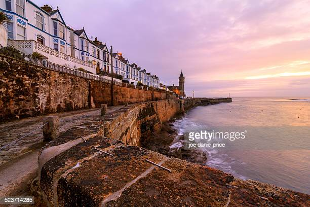 row of houses at porthleven, cornwall, england - cornwall england stock pictures, royalty-free photos & images