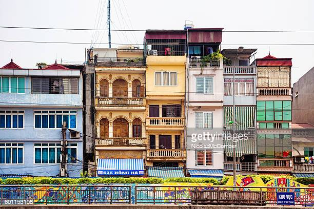 Row of houses in Hanoi Vietnam