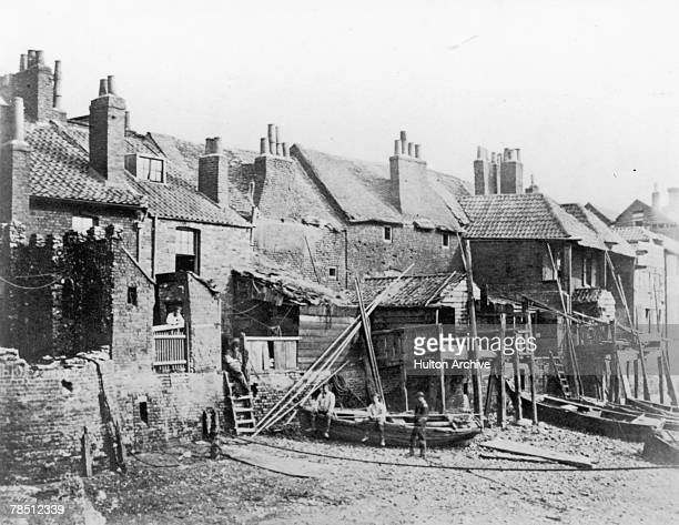 A row of houses on the south bank of the Thames at Lambeth London circa 1850