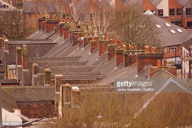 row of houses - stoke on trent stock photos and pictures
