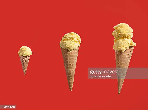 Row of ice creams with different amounts of scoops