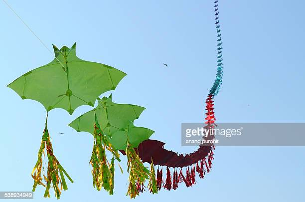 row of kites, gujarat, india - makar sankranti stock pictures, royalty-free photos & images
