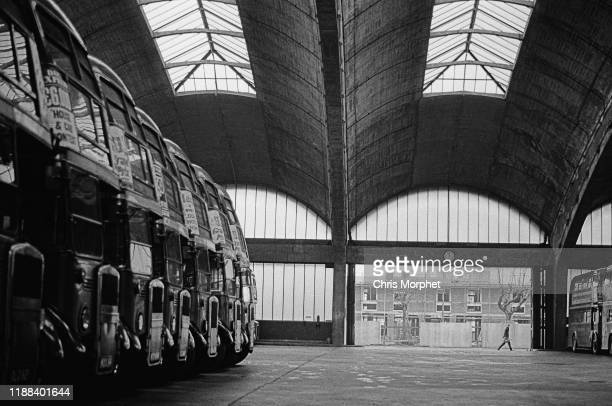 A row of Leyland Titan doubledecker buses at Stockwell Bus Garage south London 26th February 1967