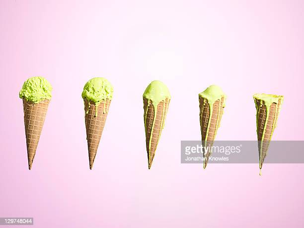 Row of melting ice creams at different stages