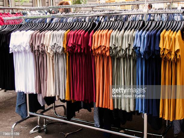 Row Of Multi Colored T-Shirts In Store
