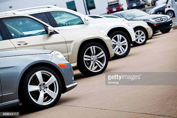 Row of New Mercedes Vehicles at Car Dealership