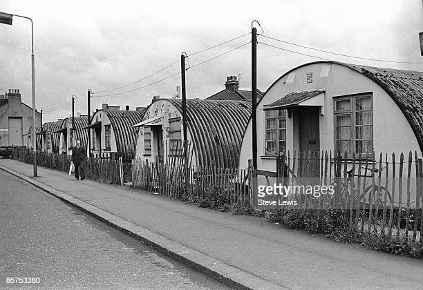 A row of Nissen huts in Stratford in the East End of London 1960s