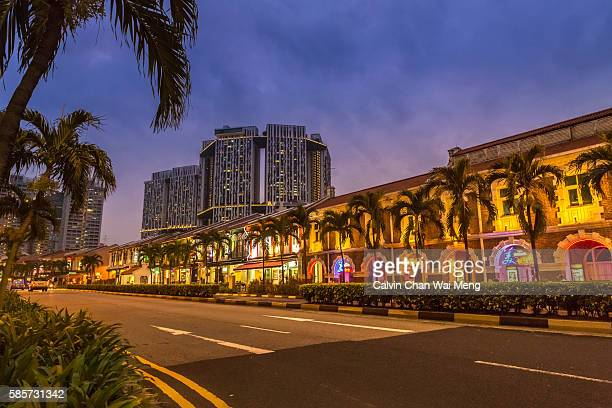 Row of old style shop houses along South Bridge Road in central Singapore -Chinatown