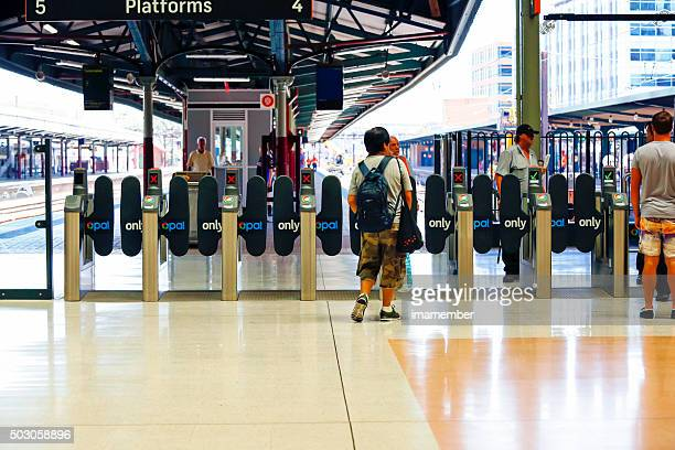 Row of opal cards ticket machines at the Central station
