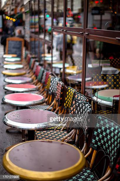 Row of Outdoor Parisian Cafe Tables