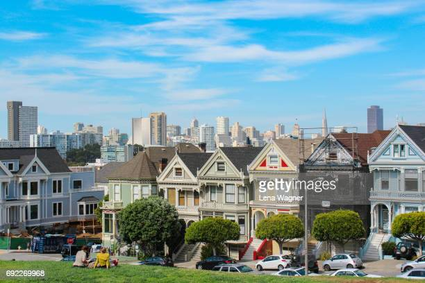 row of painted ladies - full house stock pictures, royalty-free photos & images