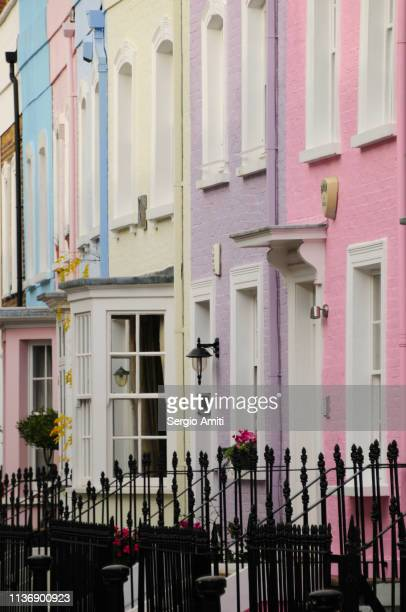 Row of pastel colour houses