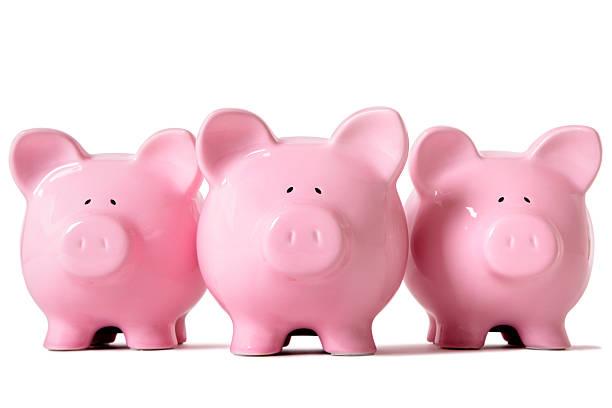 Row Of Pink Piggy Banks Wall Art
