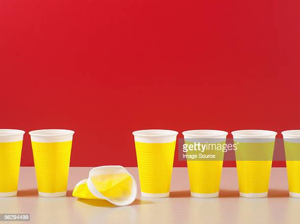 Row of plastic cups