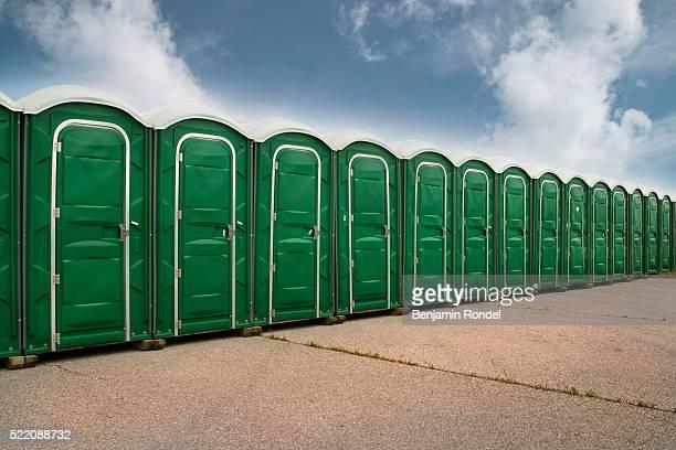 Row of Portable Toilets