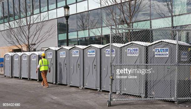A row of portapotties at a construction site at 121 Seaport in Boston is pictured on Feb 26 2018 In a curious but inevitable byproduct of Boston's...