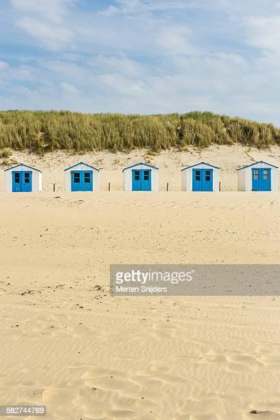 Row of recreational beach huts