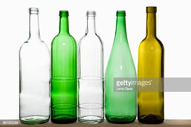 A row of recyclable glass bottles