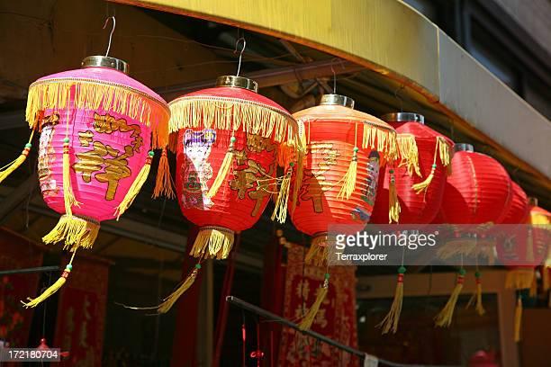 Rangée de lanterne chinoise rouge