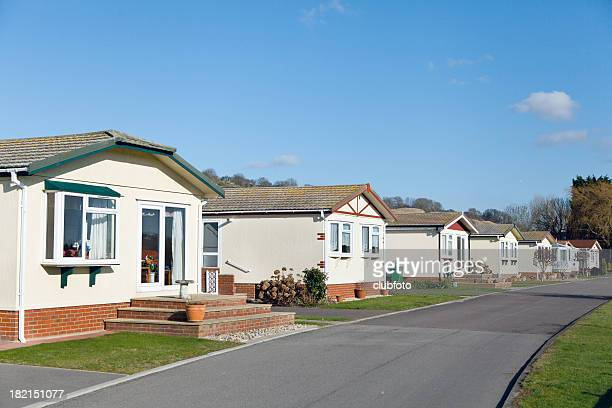 Row of residential mobile park home