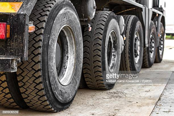 Row Of Rubber Semi-Truck Tires