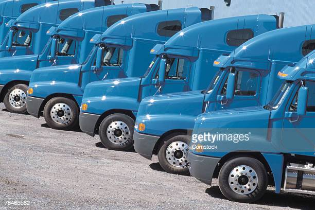 Row of semi truck cabs