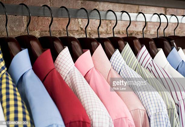 Row of shirts on hangers