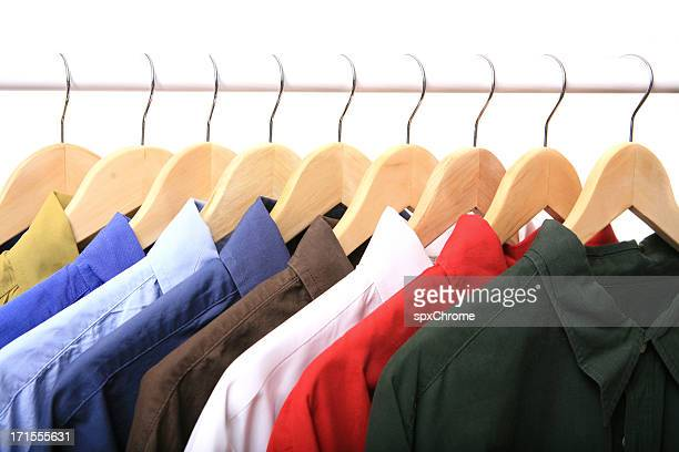 row of shirts - long sleeved stock photos and pictures
