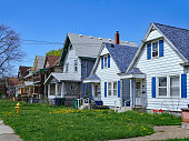 row of small American clapboard houses