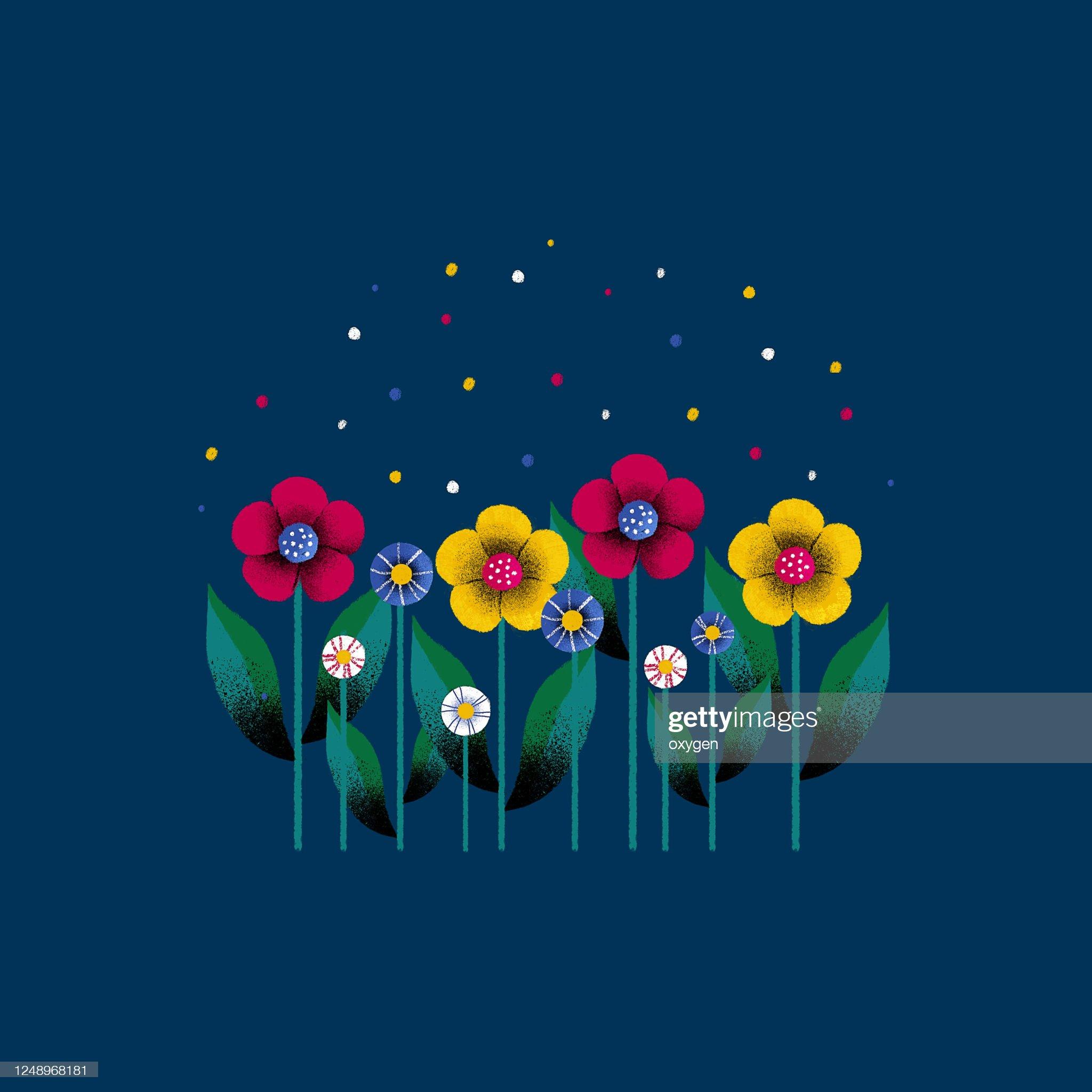 Row of Spring Colorful Bouquet Flowers. Flat Design on Dark Blue Background. Digital Illustration : 圖庫照片