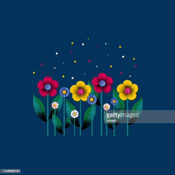 row of spring colorful bouquet flowers. flat design on dark blue background. digital illustration - international match stock pictures, royalty-free photos & images