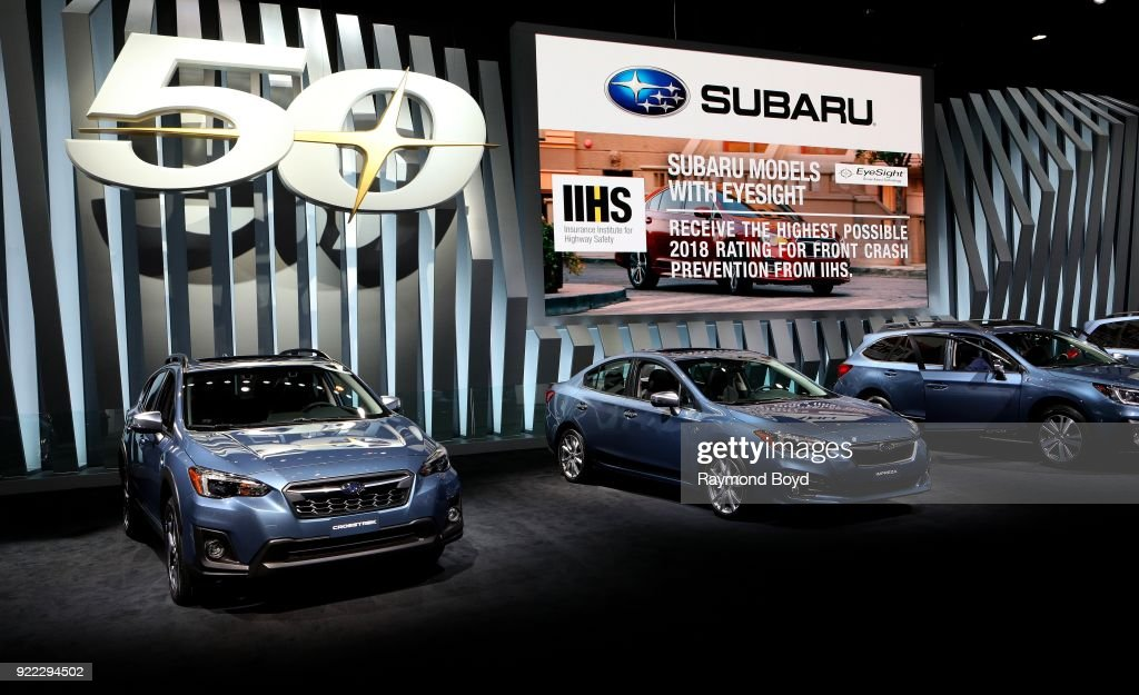 A row of Subaru vehicles are on display at the 110th Annual Chicago Auto Show at McCormick Place in Chicago, Illinois on February 9, 2018.