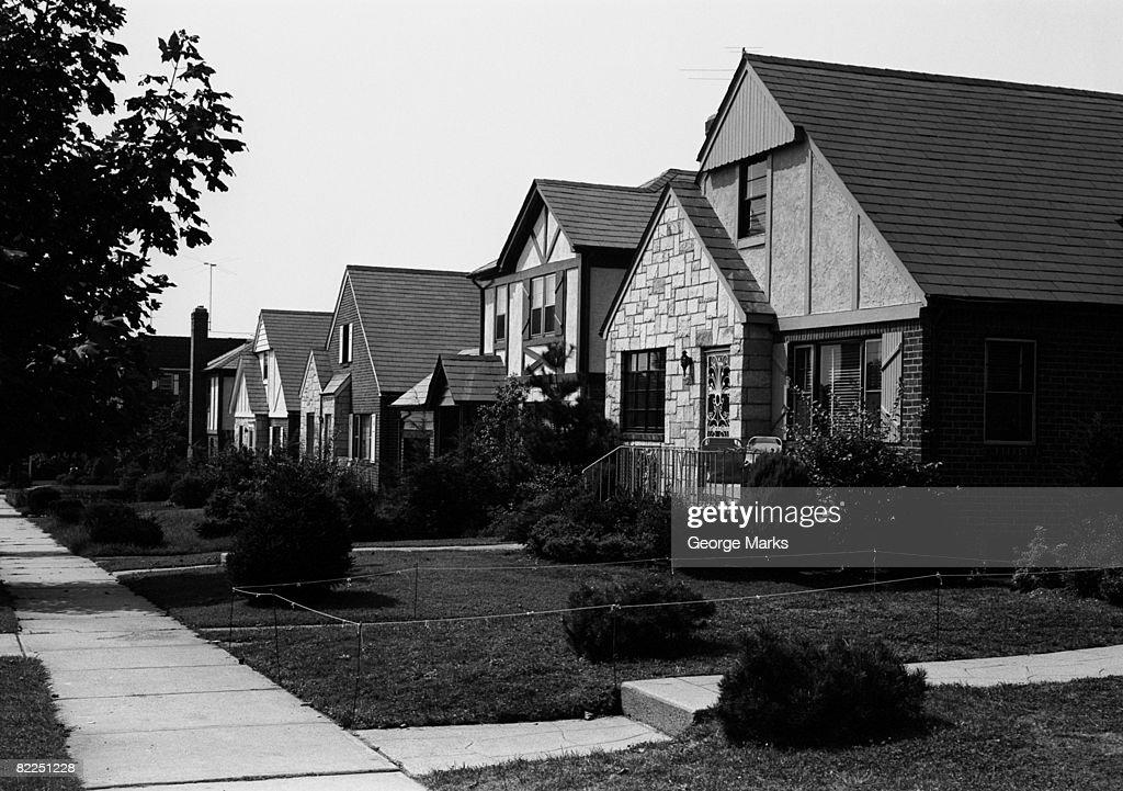 Row of suburban housing : Stock Photo