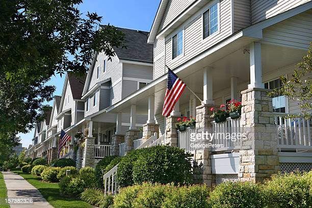 row of suburban townhouses - part of a series stock pictures, royalty-free photos & images