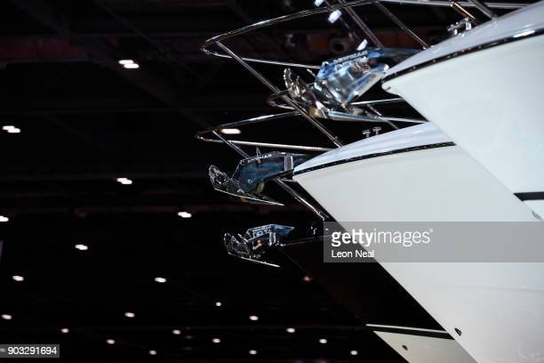 A row of Sunseeker yachts are seen at the London Boat Show on January 10 2018 in London England The London Boat Show runs from 1014 January 2018 and...