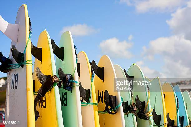 row of surfboards for hire - surfboard stock pictures, royalty-free photos & images
