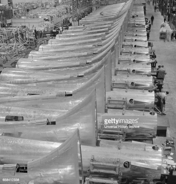 Row of Tail Sections of B17F Bomber Ready for Assembly at Boeing Plant Seattle Washington USA Andreas Feininger for Office of War Information...