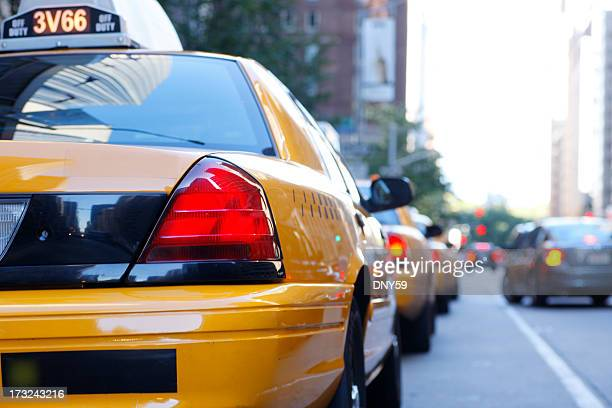 Row of taxis waiting for passengers in New York City