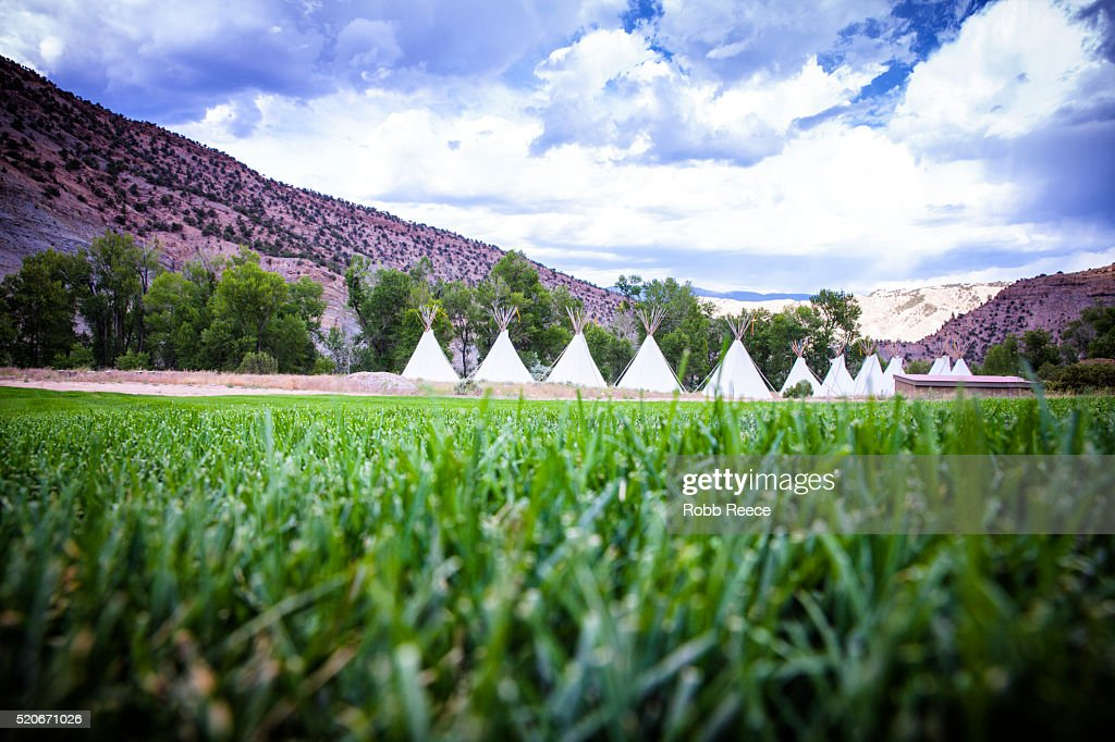 A row of teepee tents in a grass field at a camp in the Colorado mountains : Stock Photo