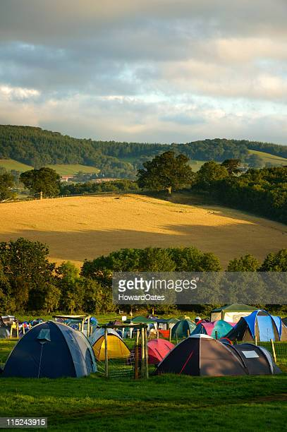 Camping in a field at festival