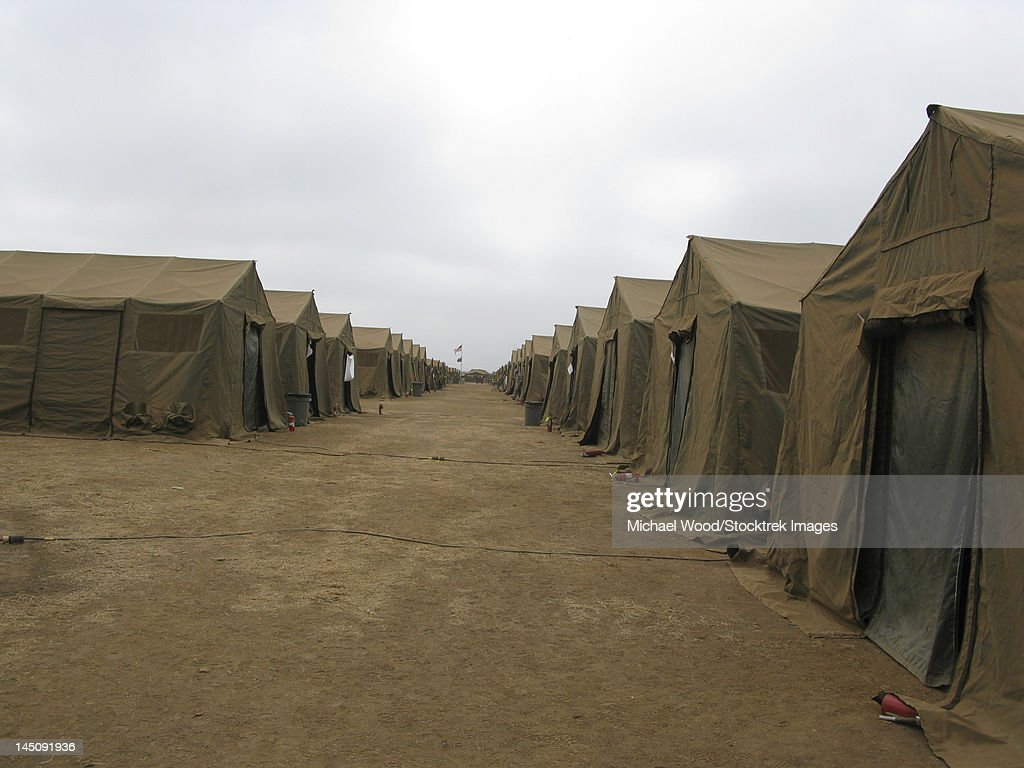 A row of tents at Red Beach C& Pendleton California.  Stock Photo & A Row Of Tents At Red Beach Camp Pendleton California Stock Photo ...