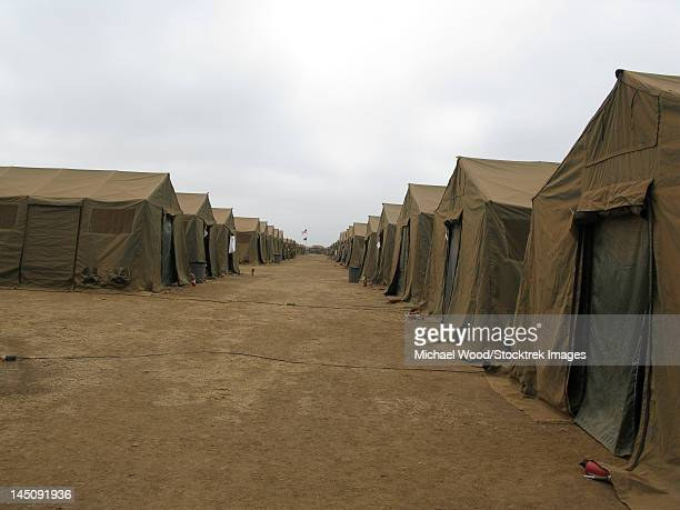 A row of tents at Red Beach, Camp Pendleton, California.