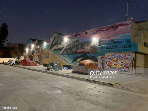 Row of tents for homeless people next to a colorful mural on the Venice Boardwalk on July 12, 2019 in Venice, California .
